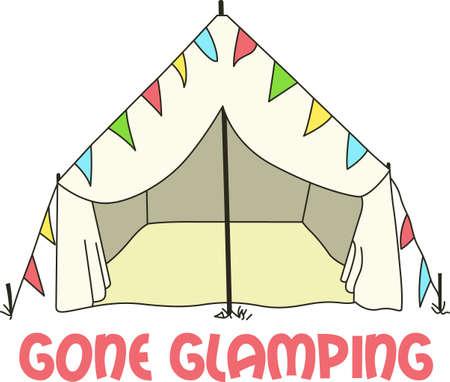 Mostra il tuo amore per il campeggio in grande stile con questa tenda. Archivio Fotografico - 45449660