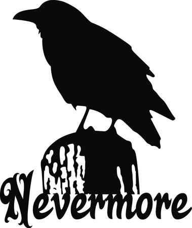 A raven silhouette will make a good Edgar Allan Poe design. Stock Illustratie