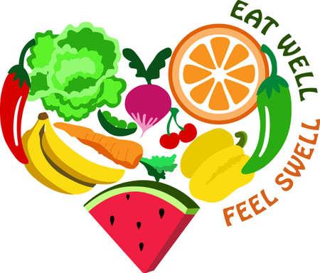 부엌에서 과일과 채소와 함께 건강한 음식을 먹는 것을 잊지 마십시오.