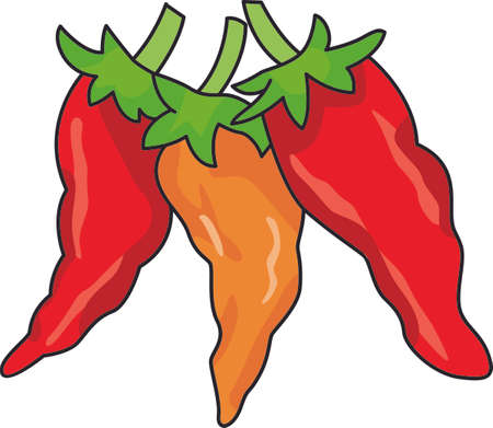 red jalapeno: Add some seasonal spice to your project with this harvest-themed design on clothing, tablecloths, napkins and gifts. Illustration