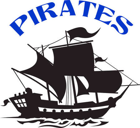 Show your team spirit with this pirate logo.  Everyone will love it! Ilustracja