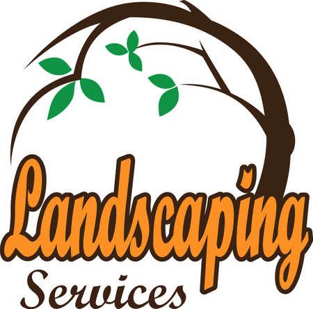 La conception parfaite pour montrer votre service de l'aménagement paysager et attirer de nouveaux clients. Banque d'images - 45450982