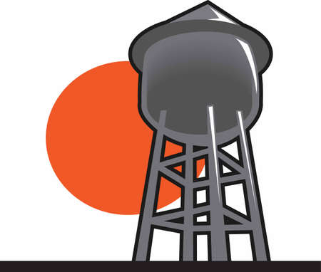 storage tank: The water tower is a perfect design to add to a shirt or hat for the city water department. Illustration