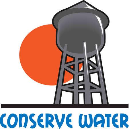 La torre de agua es un diseño perfecto para añadir a una camisa o un sombrero para el departamento de agua de la ciudad. Foto de archivo - 45450986