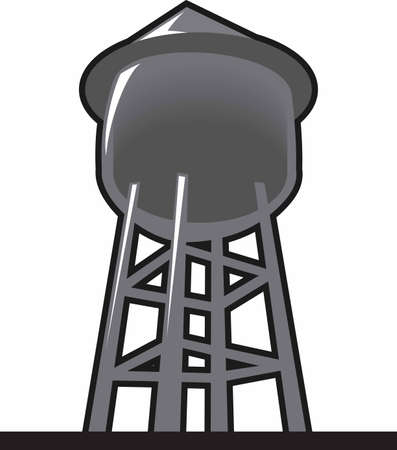 The water tower is a perfect design to add to a shirt or hat for the city water department. Stock Illustratie