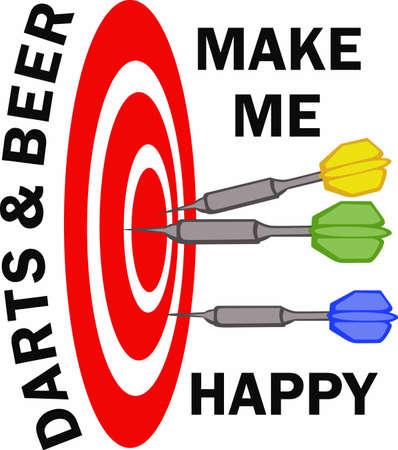私はダーツとビールで幸せ。 仕事で忙しい一週間後お気に入りの気晴らしです。  イラスト・ベクター素材