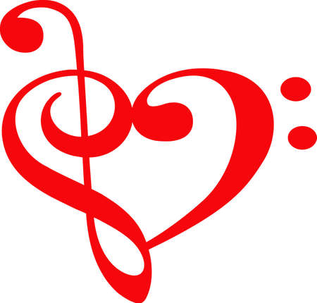 music: Music lovers will like this special heart for a valentine. Illustration