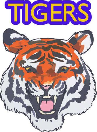 This tiger makes a great mascot for your favorite team. Ilustração