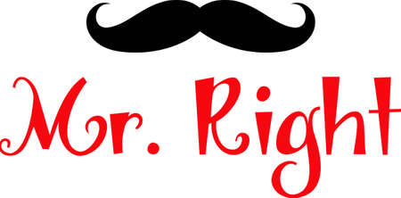 handlebar: Let him know he is Mr. Right with this design on a t-shirt. Illustration