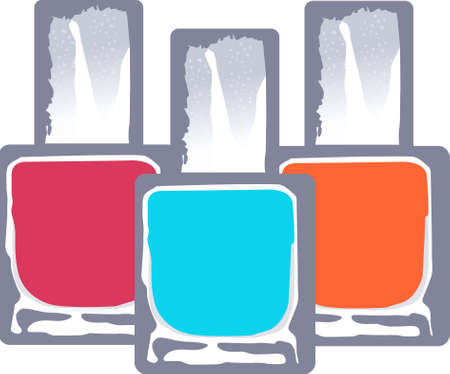Decorate a ladys dressing table with colorful nail polish.