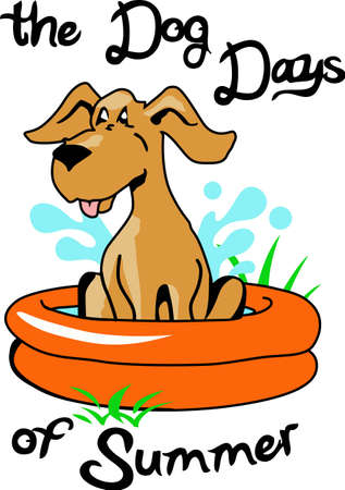 summer dog: A cute swimming dog make a great summer time project. Illustration