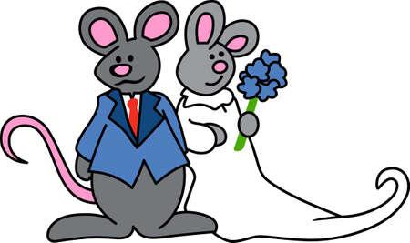 Cute wedding mice are a fun bridal shower design.