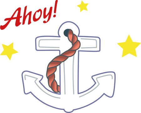 mooring anchor: A perfect design for your sailor, boater or lover of all things nautical embroider on clothes, towels,  gear bags,  t-shirts, jackets or wall hangings.