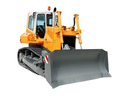 Yellow bulldozer isolated over a white background photo