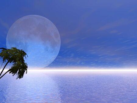 Blue 3d moon over calm ocean photo