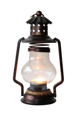 oil lamp: Kerosene lantern isolated over white Stock Photo