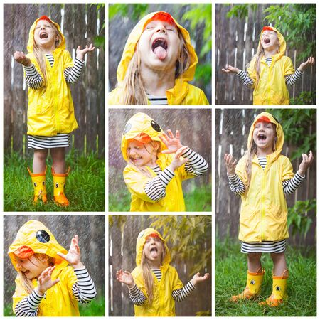 Excited little girl standing in rain and screaming with fun. Collage portrait. Kid wearing rubber boots and yellow raincoat standing at fence, laughing and sticking out tongue