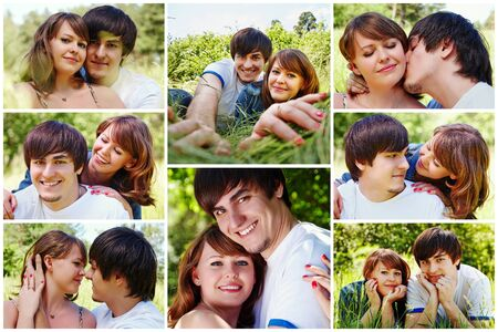 Collage of happy young couple. Man and woman hugging, kissing, lying together on grass. Husband and wife resting outdoors Stock Photo