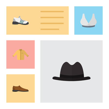 brown shirt: Flat Garment Set Of Male Footware, Banyan, Sneakers And Other Vector Objects. Also Includes Shoes, Footware, Panama Elements. Illustration