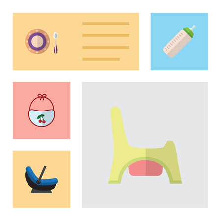 baby toilet seat: Flat Infant Set Of Pram, Baby Plate, Toilet And Other Vector Objects. Also Includes Child, Plate, Dish Elements.