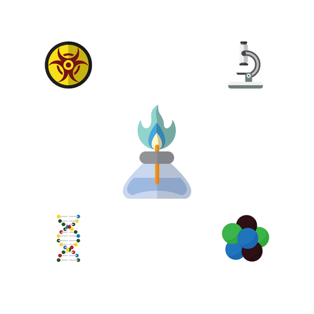 Flat Knowledge; Study Set Of Proton, Danger, Genome And Other Vector Objects. Also Includes Optical, Gas, Risk Elements.
