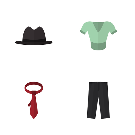 Flat Dress Set Of Cravat, Pants, Panama And Other Vector Objects. Also Includes Blouse, Clothes, Hat Elements.
