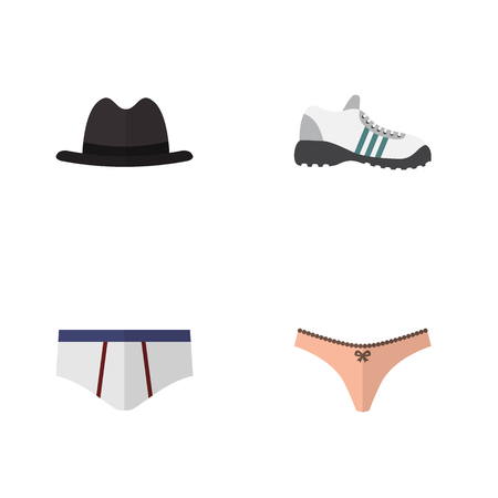 Flat Dress Set Of Sneakers, Lingerie, Underclothes And Other Vector Objects. Also Includes Briefs, Sneakers, Lingerie Elements. Illustration
