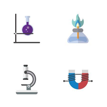 フラットの科学は、ガラスや炎、フラスコなどのベクトル オブジェクトのセット。炎、フラスコ、バーナーの要素も含まれています。