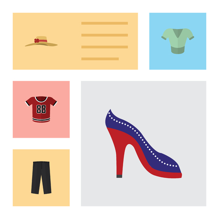 trouser: Flat Garment Set Of Elegant Headgear, Casual, T-Shirt And Other Vector Objects. Also Includes Uniform, Shirt, Sandal Elements.