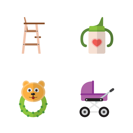 Flat Infant Set Of Rattle, Stroller, Nursing Bottle And Other Vector Objects. Also Includes Rattle, Bear, Chair Elements. Illustration