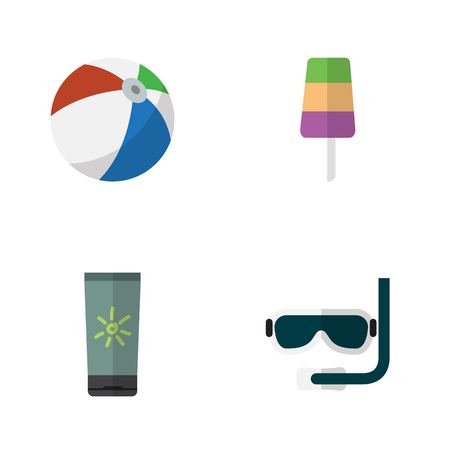 Flat Beach Set Of Sundae, Moisturizer, Scuba Diving And Other Vector Objects. Also Includes Ice, Sphere, Cream Elements. Illustration