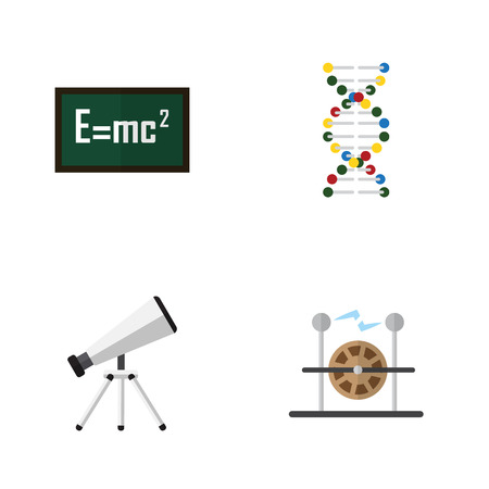 reflection of life: Flat Science Set Of Scope, Genome, Electrical Engine And Other Vector Objects. Also Includes Electrical, Telescope, Genome Elements. Illustration