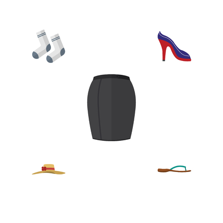 Flat Clothes Set Of Beach Sandal, Heeled Shoe, Foot Textile Vector Objects. Also Includes Heeled, Headgear, Flop Elements. Illustration