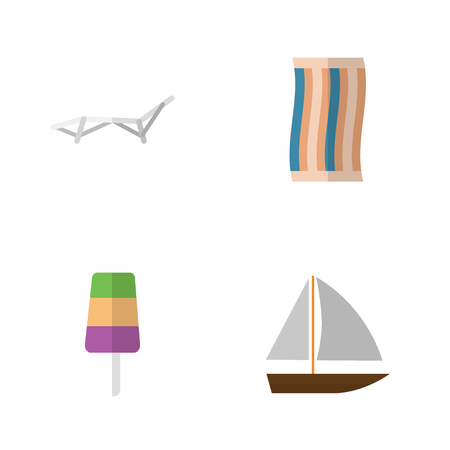 Flat Season Set Of Sundae, Yacht, Wiper And Other Vector Objects. Also Includes Boat, Sunbed, Towel Elements. Illustration