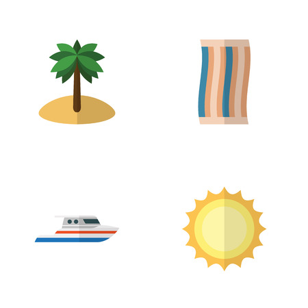 Flat Beach Set Of Coconut, Boat, Sunshine And Other Vector Objects. Also Includes Sun, Coconut, Palm Elements. Illustration