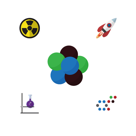 Flat Science Set Of Flask, Proton, Spaceship And Other Vector Objects. Also Includes Proton, Molecule, Dangerous Elements.