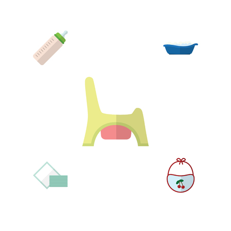 baby toilet seat: Flat Child Set Of Bathtub, Feeder, Napkin And Other Vector Objects. Also Includes Child, Feeder, Toilet Elements.