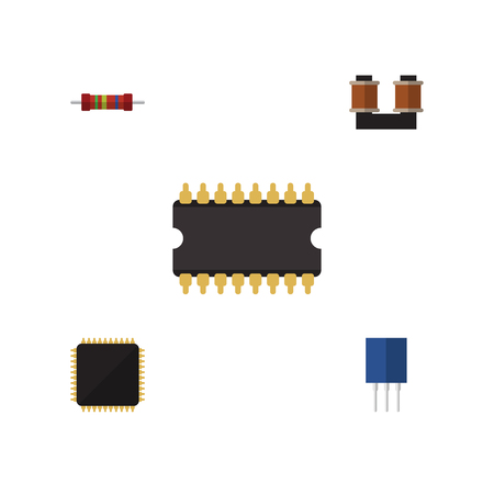 Flat Technology Set Of Receptacle, Coil Copper, Resistance And Other Vector Objects. Also Includes Unit, Copper, Transistor Elements.