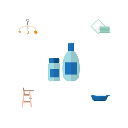 stool: Flat Child Set Of Napkin, Mobile, Bathtub And Other Vector Objects. Also Includes Bathtub, Bathing, Stool Elements.