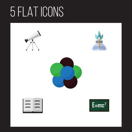Flat Knowledge; Study Set Of Scope, Lecture, Proton And Other Objects. Illustration