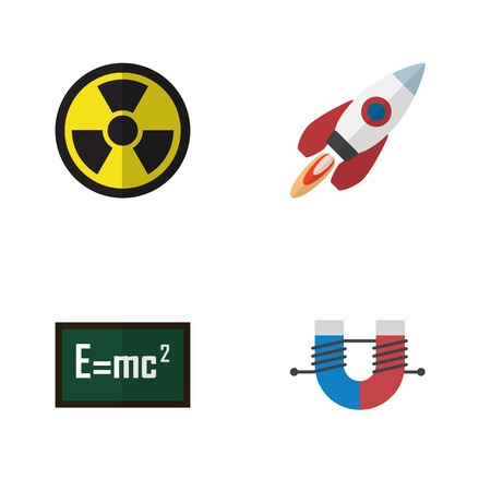 Flat Science Set Of Spaceship, Theory Of Relativity, Attractive Force And Other Objects.