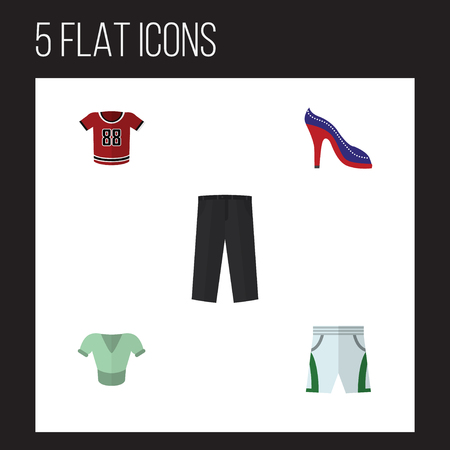 tunic: Flat Garment Set Of Trunks Cloth, Casual, Heeled Shoe And Other Vector Objects. Also Includes Leggings, Shirt, Heeled Elements.