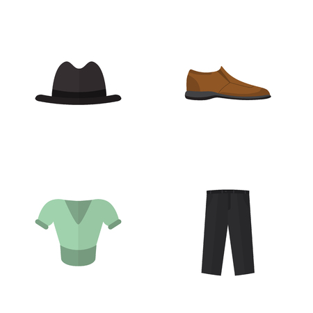 Flat Garment Set Of Male Footware, Pants And Other Objects. Illustration