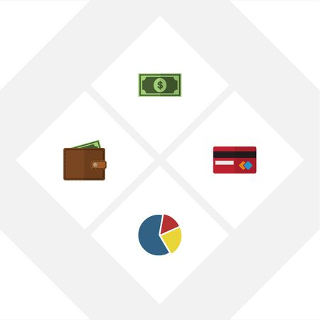 mastercard: Flat Set Of Payment, Billfold, Graph And Other Objects.