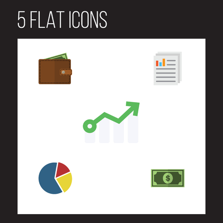 cash money: Flat Gain Set Of Graph, Greenback, Growth And Other Objects. Illustration