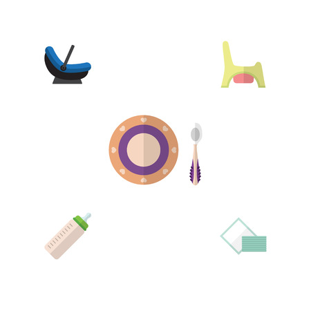 mother and baby: Flat Infant Set Of Napkin, Feeder, Toilet And Other  Objects.