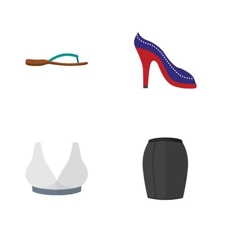 Flat Dress Set Of Brasserie, Beach Sandal, Heeled Shoe Objects.