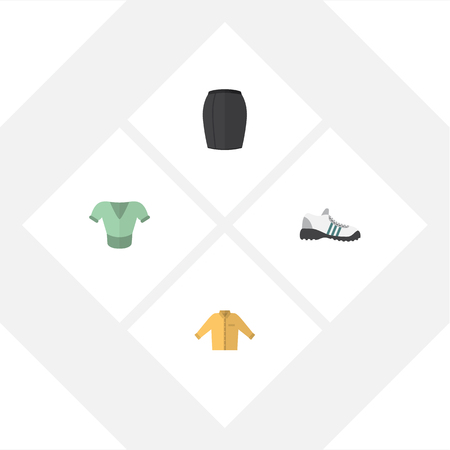 shoelace: Flat Garment Set Of Stylish Apparel, Casual, Sneakers And Other Objects.