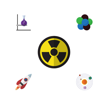 irradiation: Flat Knowledge; Study Set Of Irradiation, Spaceship, Proton And Other Vector Objects. Also Includes Planets, Proton, Rocket Elements.