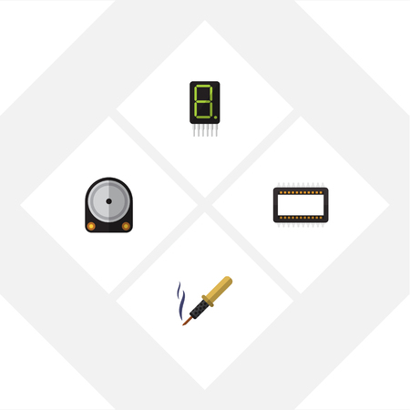 soldering: Flat Device Set Of Hdd, Mainframe, Repair And Other Vector Objects. Also Includes Calculate, Hard, Processor Elements.